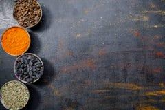Spezie Spezie variopinte Curry, zafferano, curcuma, cannella e otheron un fondo concreto scuro pepe Ampia raccolta dei Di Immagini Stock Libere da Diritti
