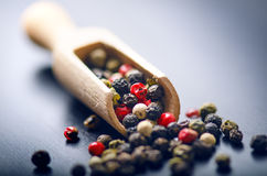 Spezie variopinte su una tavola blu scuro Concetto della cucina e di cottura Piccante su un cucchiaio di legno Immagine Stock Libera da Diritti