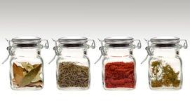 Spezie in vasi di vetro liberi immagini stock