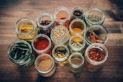 Spezie in vaso di vetro Fotografia Stock Libera da Diritti