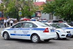 Spezielle Ausrüstung. Drei Autos Verkehrspolizei. Stockfotos