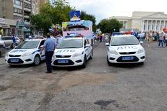 Spezielle Ausrüstung. Drei Autos Verkehrspolizei. Stockbild