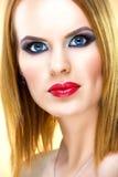 Spezielle blonde Frau mit schönem Make-up Stockbilder