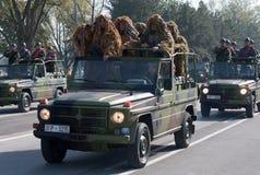 Spezielle Einheit der serbischen Armee Stockfotos
