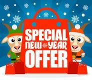Spezielle neues Jahr-Angebotkarte mit lustigen Ziegen Lizenzfreies Stockfoto