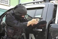 Spezielle Polizeieinheit im Training Stockfotos