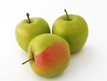 Spezielle Reihe grüne Apfelbilder für den Fruchtsaft, der 3 verpackt Stockbild