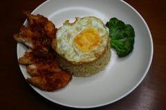 Spezieller gebratener Reis mit würziger Soße des Paprikas gebratenes Hühner, Brokkoli und gebratenem Omelett lizenzfreie stockbilder