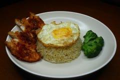 Spezieller gebratener Reis mit w?rziger So?e des Paprikas gebratenes H?hner, Brokkoli und gebratenem Omelett stockfotografie
