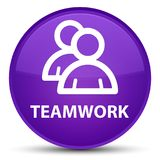 Spezieller purpurroter runder Knopf der Teamwork (Gruppenikone) Stockfoto