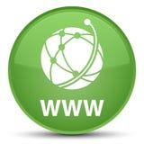Spezieller weicher grüner runder Knopf WWW (Ikone des globalen Netzwerks) Stockbild