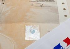 Spezielles Dokument mit dem ganz eigenhändig geschrieben Stempel und dem Ministerium von Inte lizenzfreies stockbild