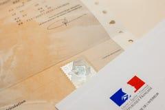 Spezielles Dokument mit dem ganz eigenhändig geschrieben Stempel und dem Ministerium von Inte lizenzfreie stockbilder