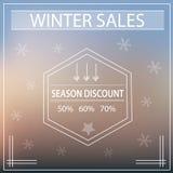 Spezielles großes Wintersaisonverkaufsplakat mit Retro- Weinlese der Schneeflocken Stockbild