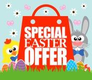 Spezielles Ostern-Angebot, lustiges Kaninchen und Huhn Lizenzfreie Stockfotografie