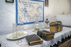 Spezifische Gegenstände von einem Innenraum slowakischem Bauernhaus stockbild