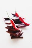 Spezzettamento del cioccolato fondente a pezzi con i peperoncini roventi freschi fotografie stock libere da diritti