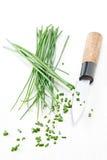 Spezzettamento della erba cipollina a pezzi Immagini Stock