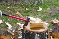 Spezzettamento della legna da ardere a pezzi Fotografie Stock