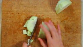Spezzettamento delle melanzane a pezzi per cucinare video d archivio