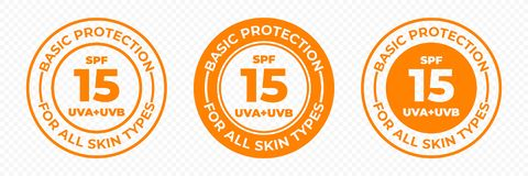 Free SPF 15 Sun Protection UVA And UVB Vector Icons. SPF 15 Basic UV Protection Skin Lotion And Cream Package Label Stock Photos - 146169343
