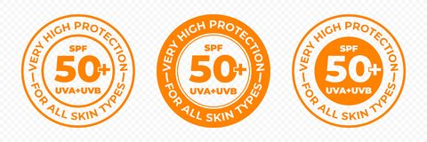 Free SPF 50 Sun Protection, UVA And UVB Vector Icons. SPF 50 PLUS High Sunblock, Skin UV Protection Lotion And Cream Package Label Stock Photography - 146169502