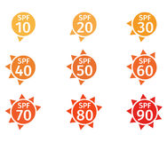 Spf 10 to 90 logo. 9 logo Stock Photography