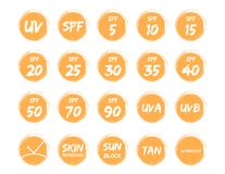 Spf uv and ultraviolet icon vector. On white background Royalty Free Stock Images
