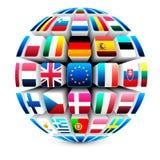 sphère 3d avec 27 indicateurs d'Union européenne Photos stock