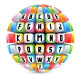 sphère 3d avec l'alphabet anglais Images libres de droits