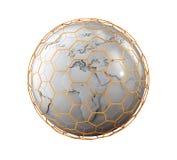 Sphère abstraite avec le logo net nano d'isolement sur le blanc, illustration 3d Photos stock