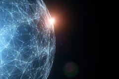 Sphère abstraite de données de réseau avec la lumière du soleil Images libres de droits