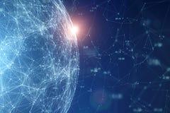 Sphère abstraite de données de réseau global avec la lumière du soleil Image stock