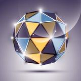 Sphère abstraite de la lueur 3D avec le globe géométrique et brillant créé de Image libre de droits