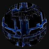 Sphère abstraite des cercles et des lignes rougeoyants Image libre de droits