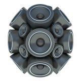 sphère audio des haut-parleurs 3D d'isolement sur le fond blanc Image libre de droits