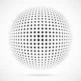 Sphère blanche d'image tramée du vecteur 3D Fond sphérique pointillé logo Photographie stock libre de droits