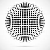 Sphère blanche d'image tramée du vecteur 3D Fond sphérique pointillé logo Images libres de droits