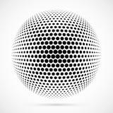 Sphère blanche d'image tramée du vecteur 3D Fond sphérique pointillé logo Photo libre de droits
