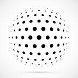 Sphère blanche d'image tramée du vecteur 3D Fond sphérique pointillé logo Image stock