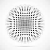Sphère blanche d'image tramée du vecteur 3D Fond sphérique pointillé logo Photo stock