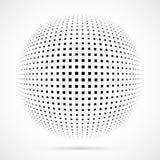 Sphère blanche d'image tramée du vecteur 3D Fond sphérique pointillé logo Image libre de droits