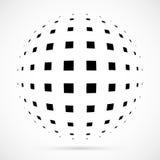 Sphère blanche d'image tramée du vecteur 3D Fond sphérique pointillé logo Images stock