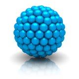 Sphère bleue abstraite de particules sur le fond blanc Photo stock