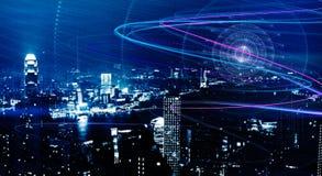 Sphère bleue sur le contexte de ville Photos stock