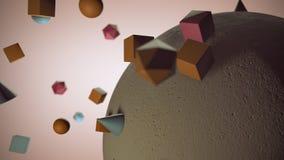 Sphère concrète attirant d'autres formes géométriques Photo libre de droits