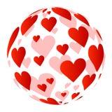 Sphère constituée des coeurs Photographie stock