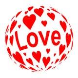 Sphère constituée des coeurs rouges Photographie stock