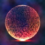 Sphère corrompue de point Esthétique de chaos r Structure de connexion Fond abstrait de Digital, illustration de vecteur Images libres de droits