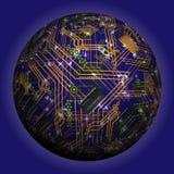 Sphère creuse abstraite, puce, microcircuit, puce de silicone, puce